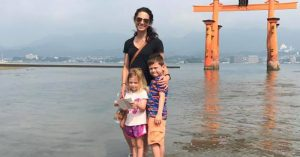 Photo of Kristi and her children in Japan