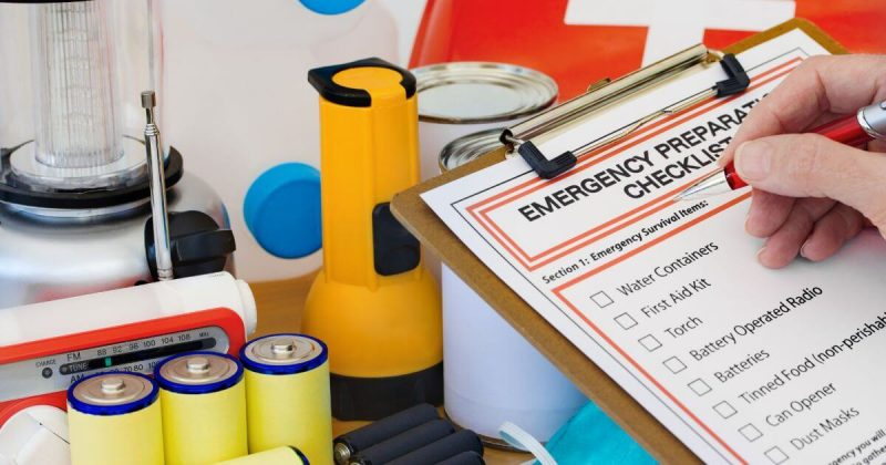 Checking off the items on the emergency preparedness form
