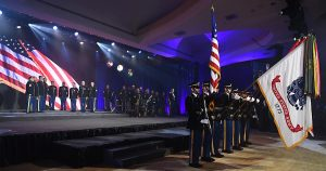 U.S. Soldiers perform the National Anthem during the 243rd Army Birthday Ball