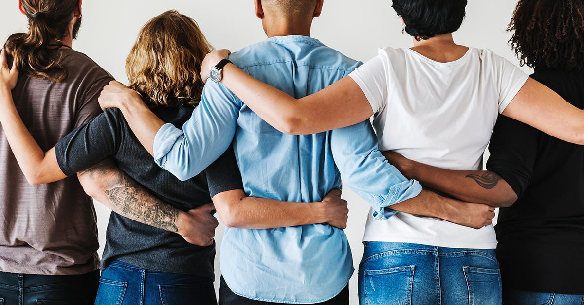 A group of people hugging
