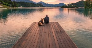 Man sitting with dog on dock